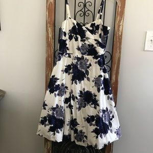 White & Blue Floral Dress
